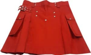 red mini skirt kilt