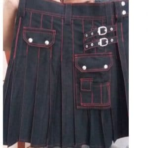 black with red utility kilt