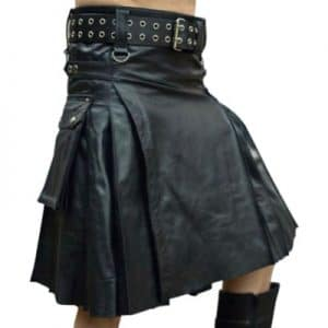 modern black leather kilt