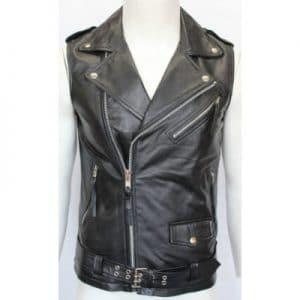 modern black sleeveless leather jacket