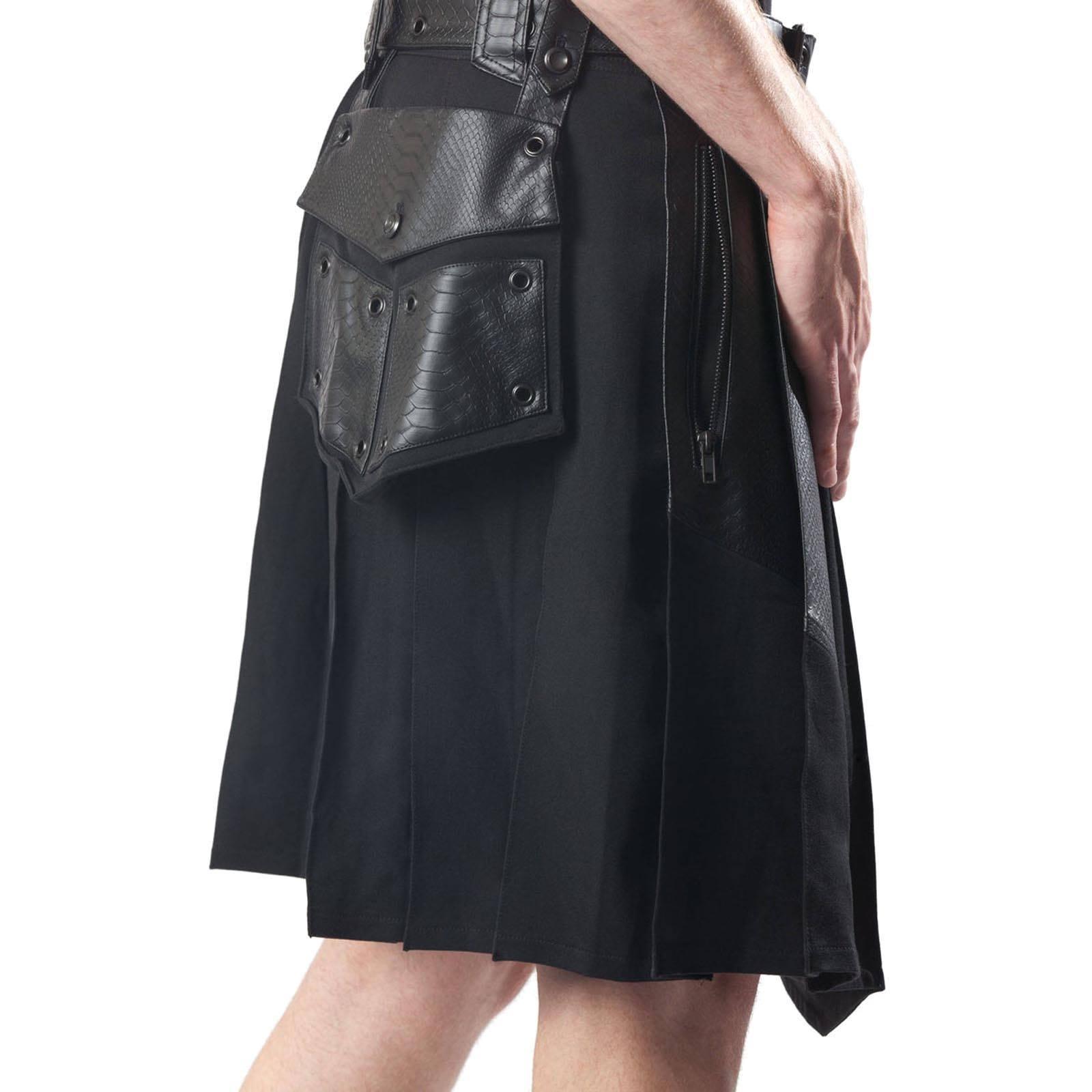 Leather Patch Gothic Kilt