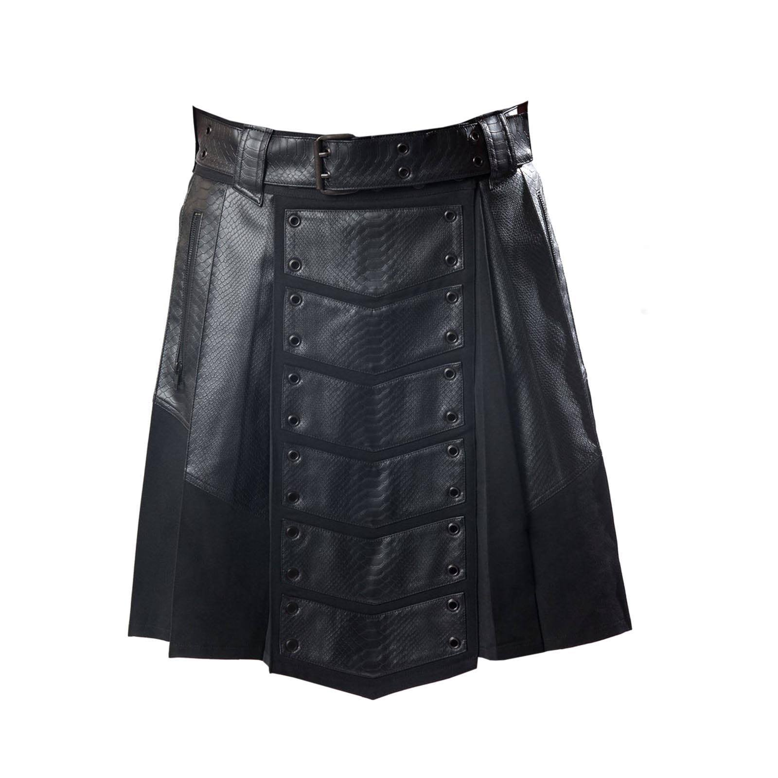 Leather Patch Gothic Utility Kilt