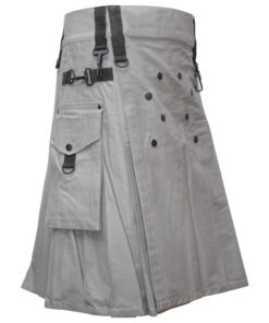 Men White Utility Fashion Kilt