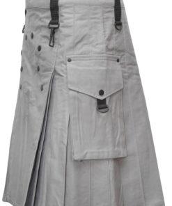 Men White Utility Fashion Kilt