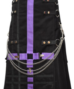Men Purple and Black Two-Tone Utility Kilt