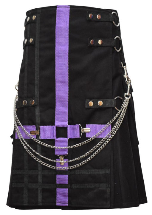 Men Purple and Black Two-Tone Utility Kilt