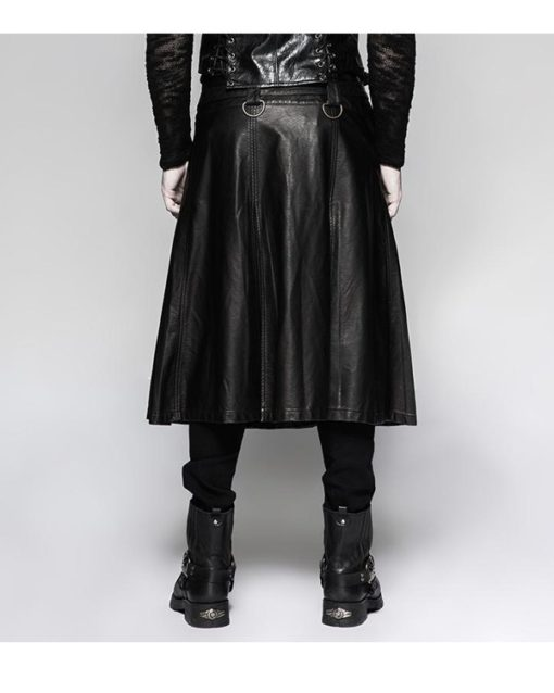 Real Leather Black Kilt