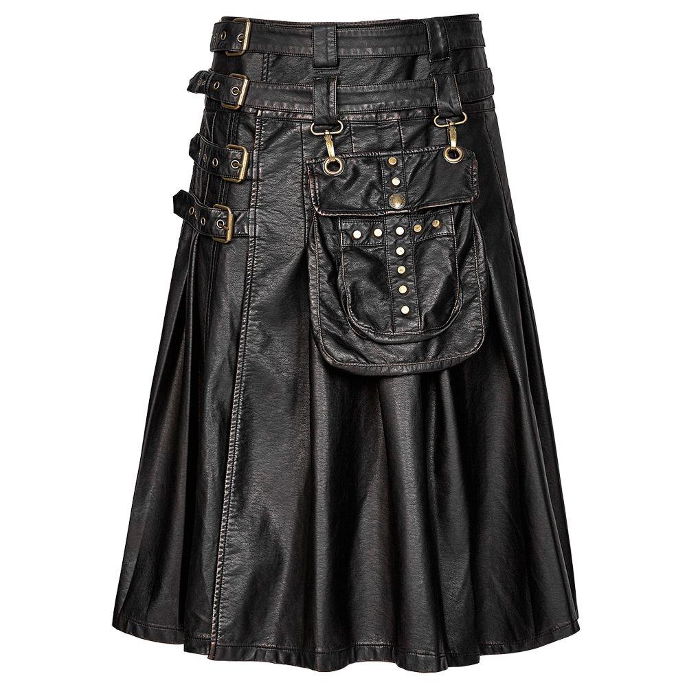 Steampunk Gothic Leather Kilt