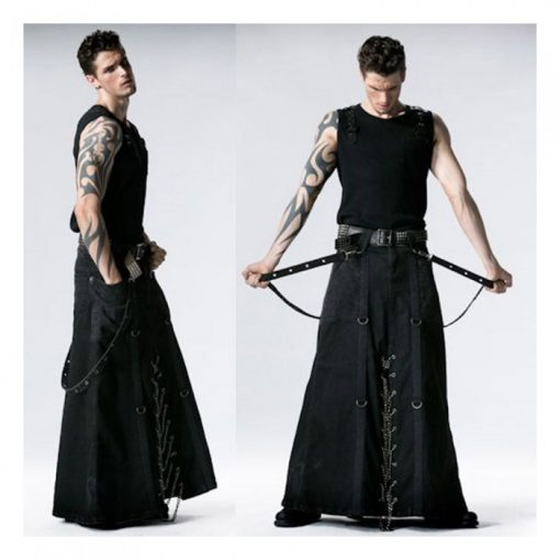 Long Black Gothic Kilt