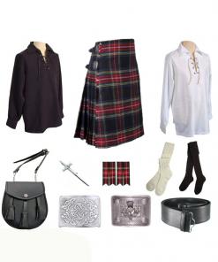 Black Stewart Tartan Outfit